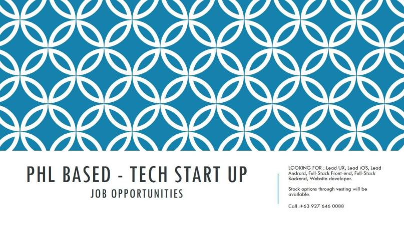 Tech Start Up job post