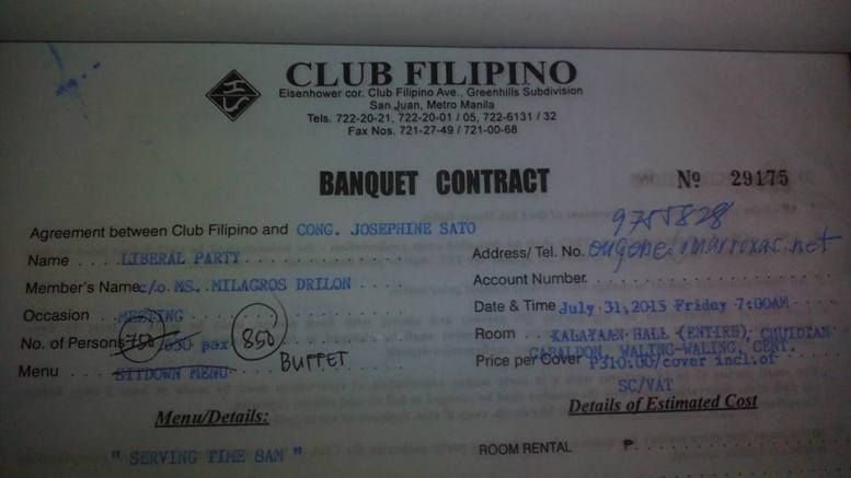 RECEIPT OF THE BANQUET CONTRACT FOR MAR'S ENDORSEMENT AMOUNTING TO 263,500 PESOS FOR 850 PAX BUFFET DINNER