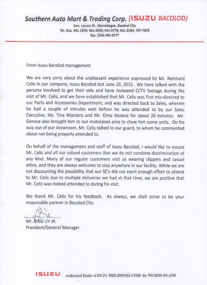 OFFICIAL STATEMENT OF ISUZU BACOLOD CITY (c) Think Philippines Archive