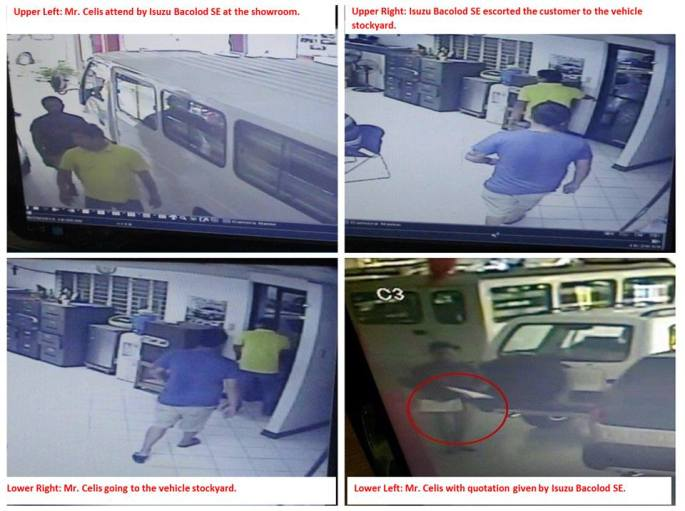 CCTV Footage showing that Chef Celis was attended by Isuzu Bacolod City's Sales Executive. Contrary to the popular belief that the Chef was snubbed because of his physical appearance.